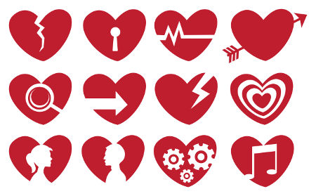 Vector illustration of different societal symbols in symbolic red heart shape.